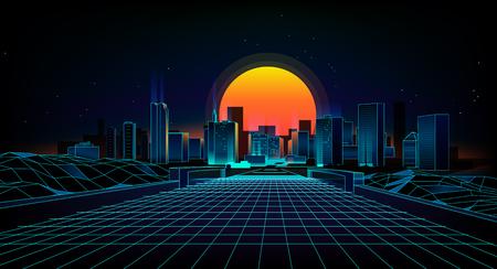 Estilo retro dos anos 80 da paisagem do fundo. Paisagem retro da cidade do fundo da ficção científica 80s Onda retro do fundo futurista. Ilustración de vector