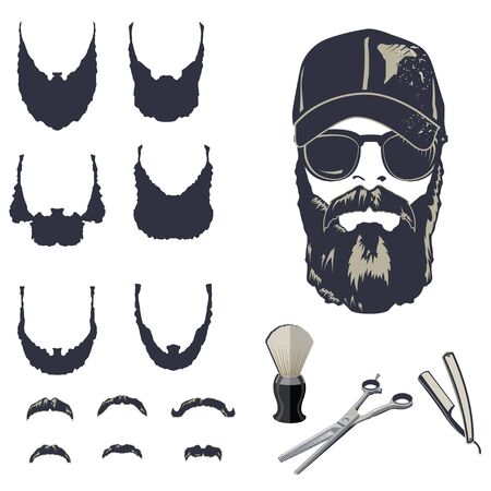 Set of vector bearded men hipsters with different haircuts, mustaches, beards. Illusztráció