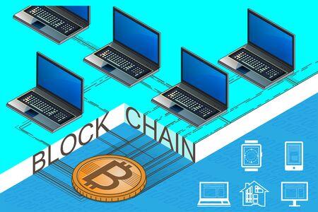 Cryptocurrency and blockchain isometric composition  Illusztráció