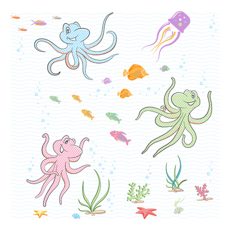 Under the sea. The little octopuses play with fish and corals. Illusztráció