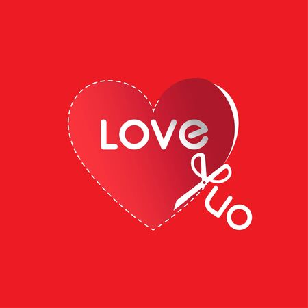 Red heart cut from paper with lettering love you. For greeting cards, Valentine day, wedding, posters, prints, t-shirt or home decorations.