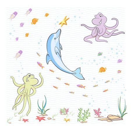 Under the sea. The little octopuses having fun with a Dolphin.  Illusztráció