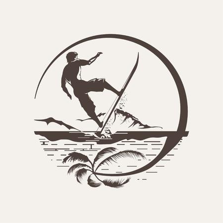 Surf logo or emblem design Vector illustration.