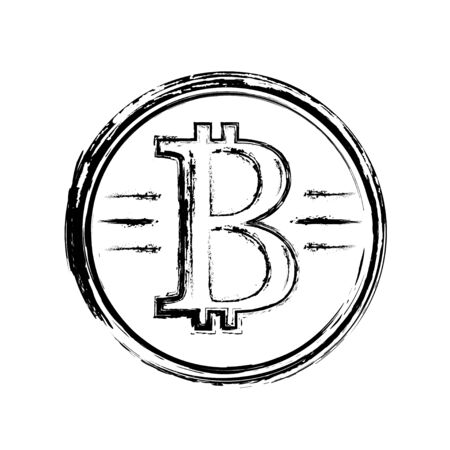 Bitcoin ink drawing, vintage style for t shirt and printing. Illusztráció