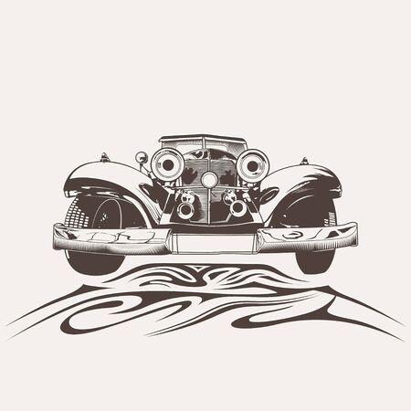Retro car logo template vector design element vintage style for label and badge retro illustration. Classic car silhouette. Illusztráció