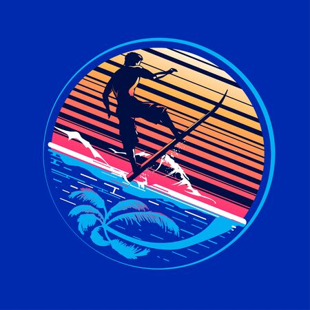 Surfer rides on a wave. Typography for t-shirt print