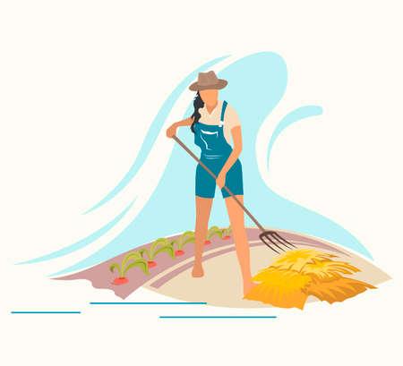 Gardening and harvesting, woman work in garden. Flat vector illustration.