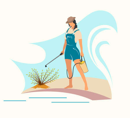 Gardening and harvesting, woman work in garden. Flat vector illustration.