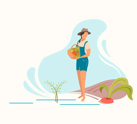 Gardening and harvesting, woman with freshly picked vegetables in a basket, flat vector illustration.
