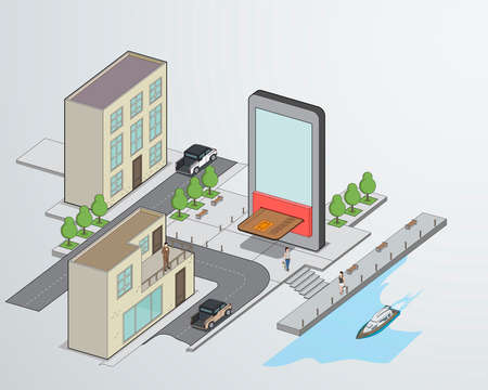 Smart city, digital technology interactions, logistics and delivery concept. Metropolis with transport, people and smartphone, vector isometric infographic. Illusztráció