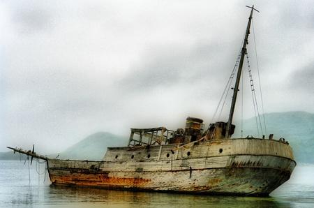 boat, old, beach, sea photo