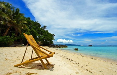 beach chairs: chair beach sea sky relax coast Stock Photo