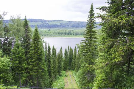 lake in the forest. Natural beauty. beatyful Taiga Siberia in Russia.