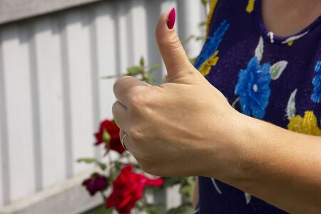 Hand showing symbol Like. approval by female hands. Gestures by female hands.