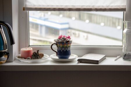 Planning a day on the windowsill. A window to the world. Morning. Zdjęcie Seryjne - 129330361