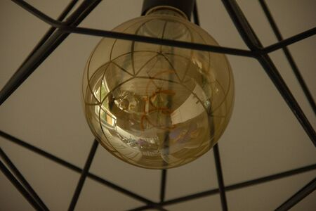 reflection of a room in a light bulb. Banco de Imagens