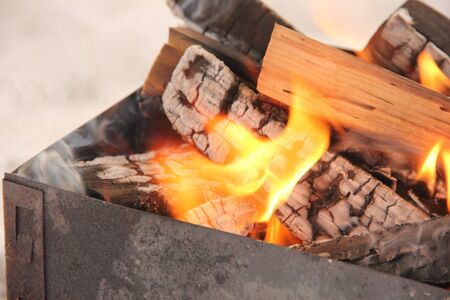 log in the flames. burning fire in the grill is large Stock fotó