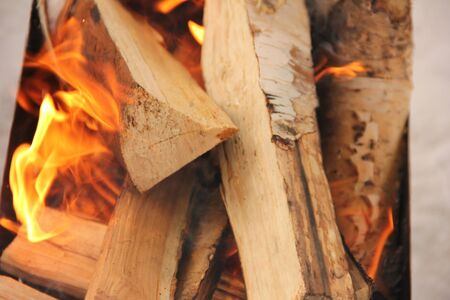 log in the flames. burning fire in the grill is large.