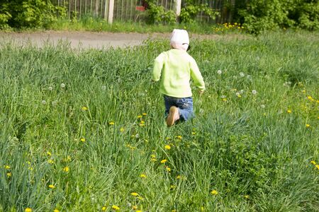 Little girl in a cap collects yellow dandelions in a clearing. 写真素材 - 143244877