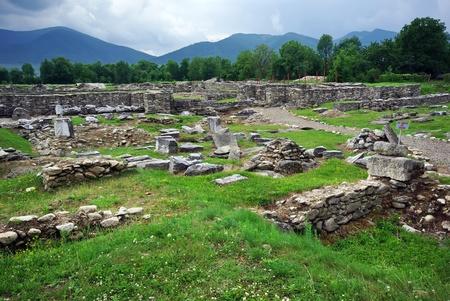 Roman ruins. Fragments of Latin tablets at roman colony Ulpia Traiana Augusta Dacica Sarmizegetusa. Stock Photo
