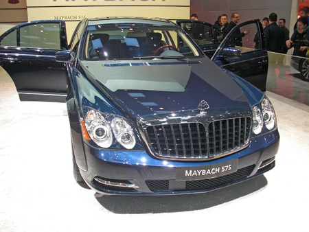 Geneva, Switzerland - 18 march 2012 International Motor Show - Limousine Maybach 575 at International Motor Show, Geneva, 8-18 march 2012,  http://www.salon-auto.ch/en/ Stock Photo - 13512332