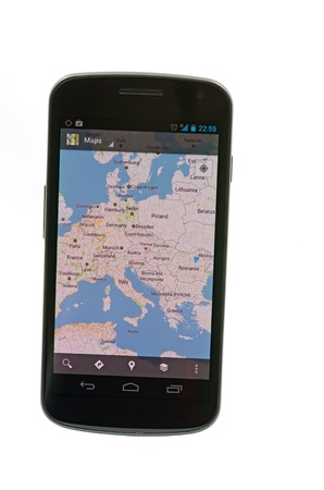 Bucharest - 15 december 2011 - Google maps on Android based device, Samsung Galaxy Nexus by Google Stock Photo - 13512341