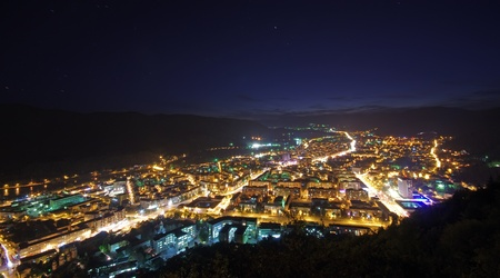 Night city scene, up view, Piatra Neamt in Romania Stock Photo - 13582248