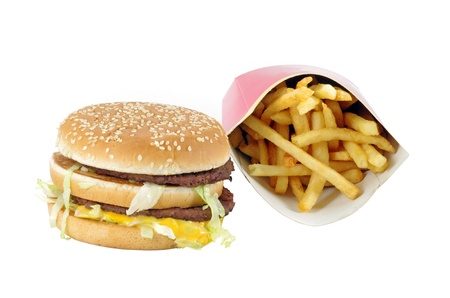 Fast food menu  double burger and french fries