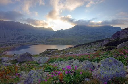 Sunset at Bucura lake in Retezat National Park