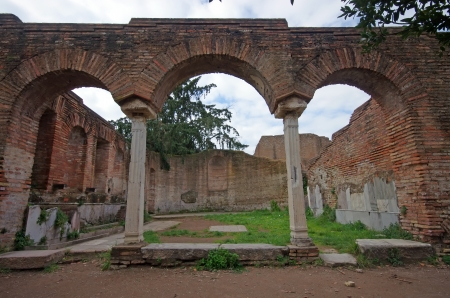 Ostia Antica, ancient roman arcade, near Rome photo