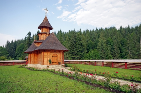 Small wooden church near the forest, Sihastria Putnei monastery