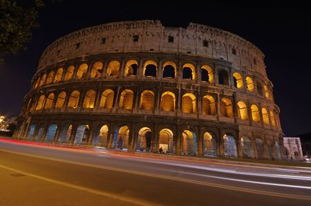 Night view of historic center in Rome photo