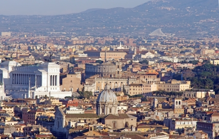 Panoramic view of Rome with Colosseum in center, from Saint Peter Basilica photo