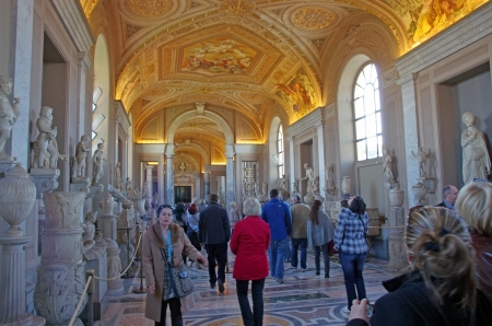 Vatican Museum gallery visited by tourists, Rome Stock Photo