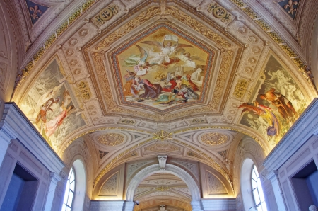 Gallery ceiling in Vatican Museum, Vatican City photo