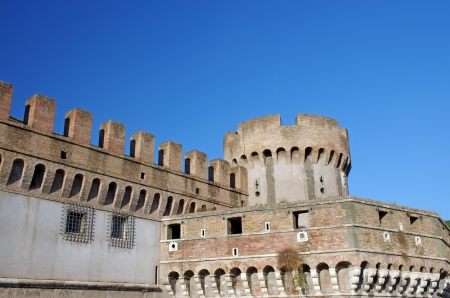 defending: Ancient walls and tower for defending in Rome