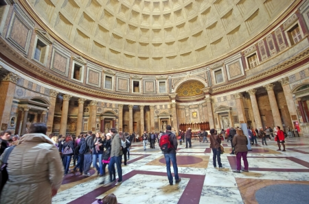 Interior view of Pantheon in Rome (A temple to all the Gods)