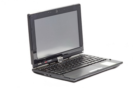 rotative: Small netbook with rotative display on white