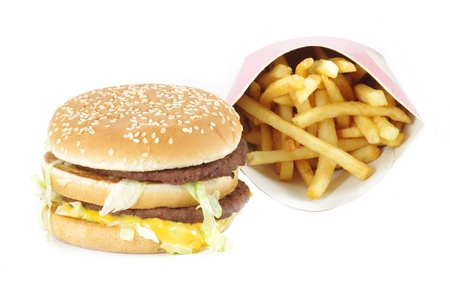 Double cheeseburger and french fries on white Stock Photo