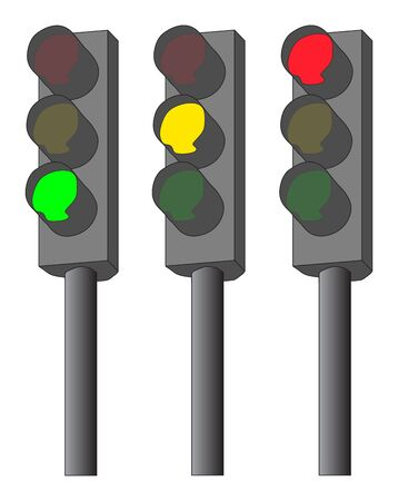 city lights: Traffic lights illustration  green, yellow and red
