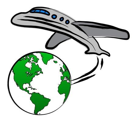 logotipo turismo: Mundo concepto de viaje de la Tierra y un plano