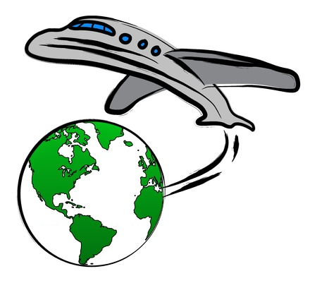 World travel concept  the Earth and a plane