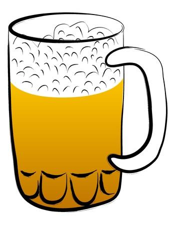 Beer mug illustration on white