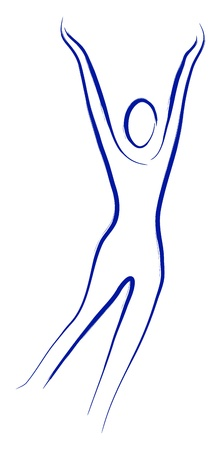 hand movements: Fitness logo, a silhouette on a white background