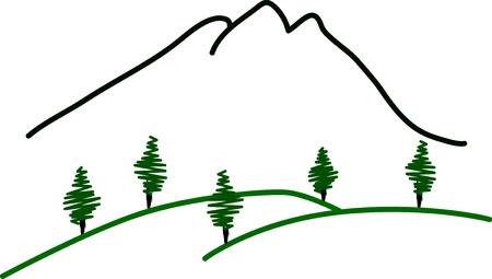 Mountain summit illustration on white Ilustracja