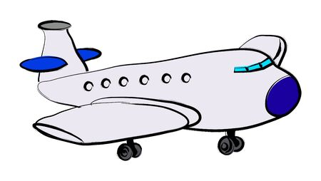 Plane illustration over a white background Vector