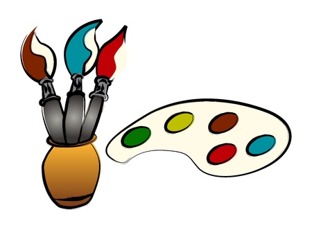 Brushes and paints illustration, over white