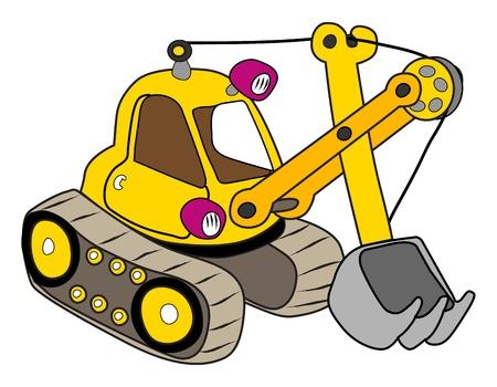 Yellow excavator illustration on white Ilustracja