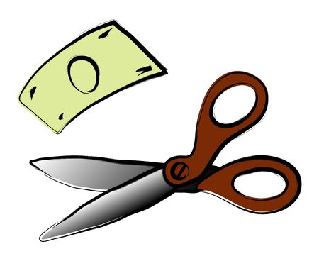 Scissor and money illustration on white Stock Vector - 14487284