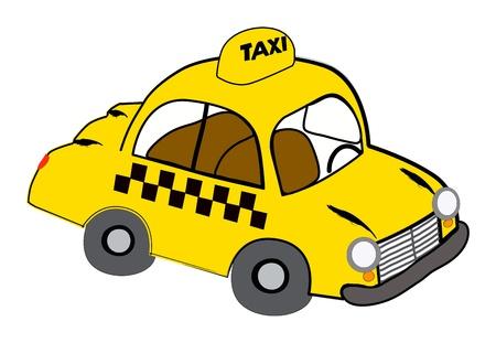 Ilustración de un taxi amarillo en blanco
